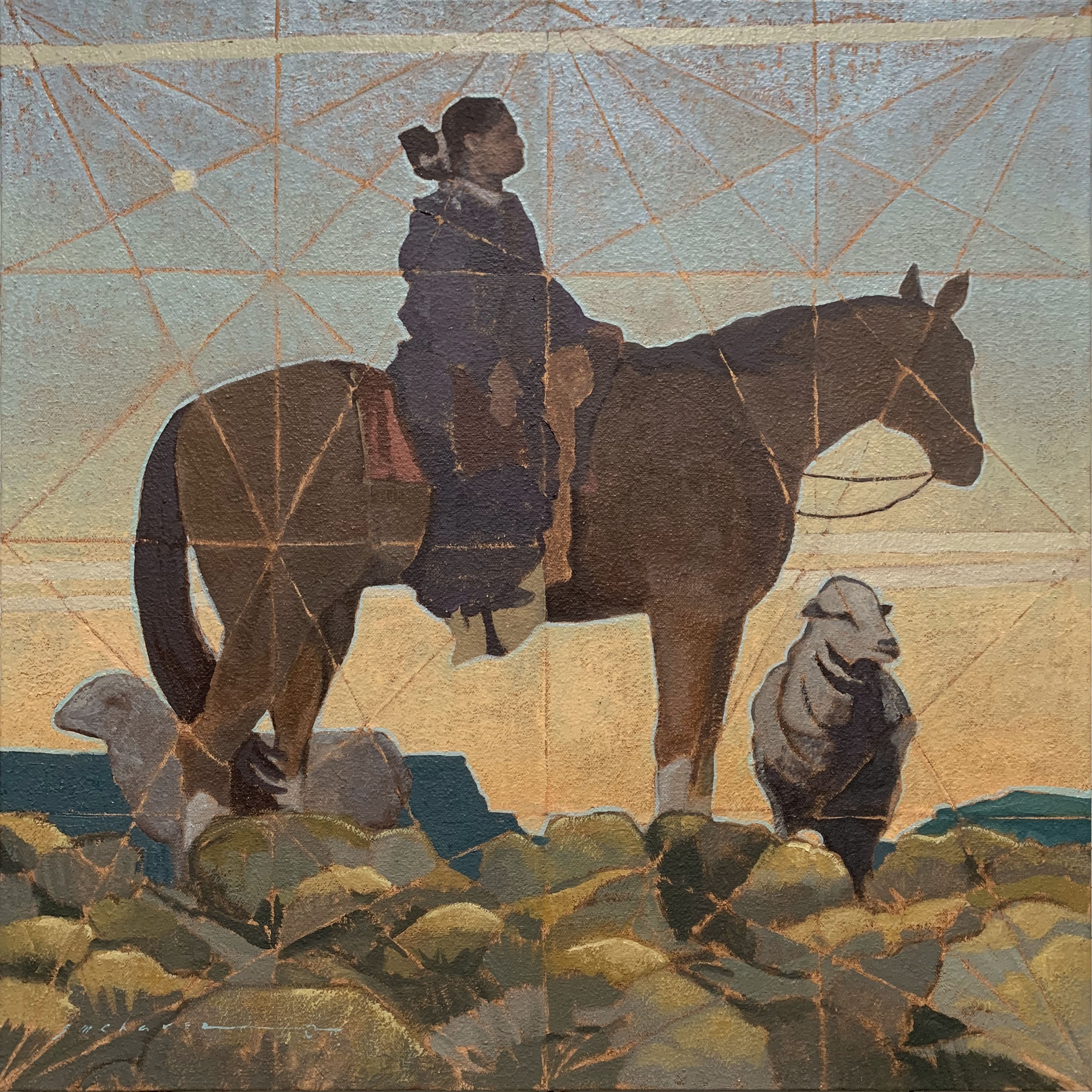 Painting of Navajo on Horse