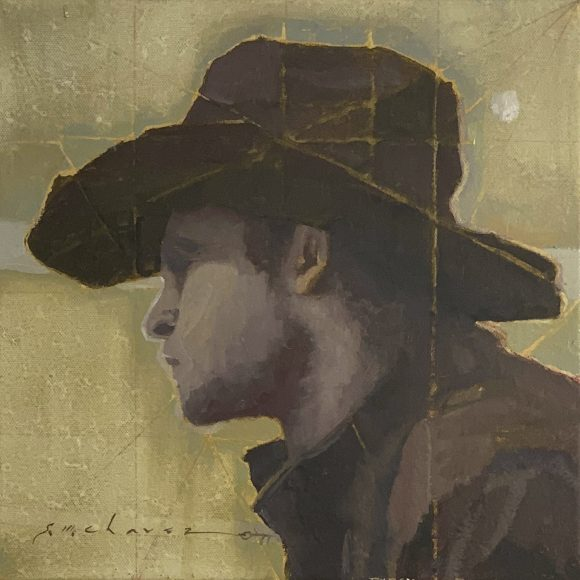 Young cowboy profile painted in oil