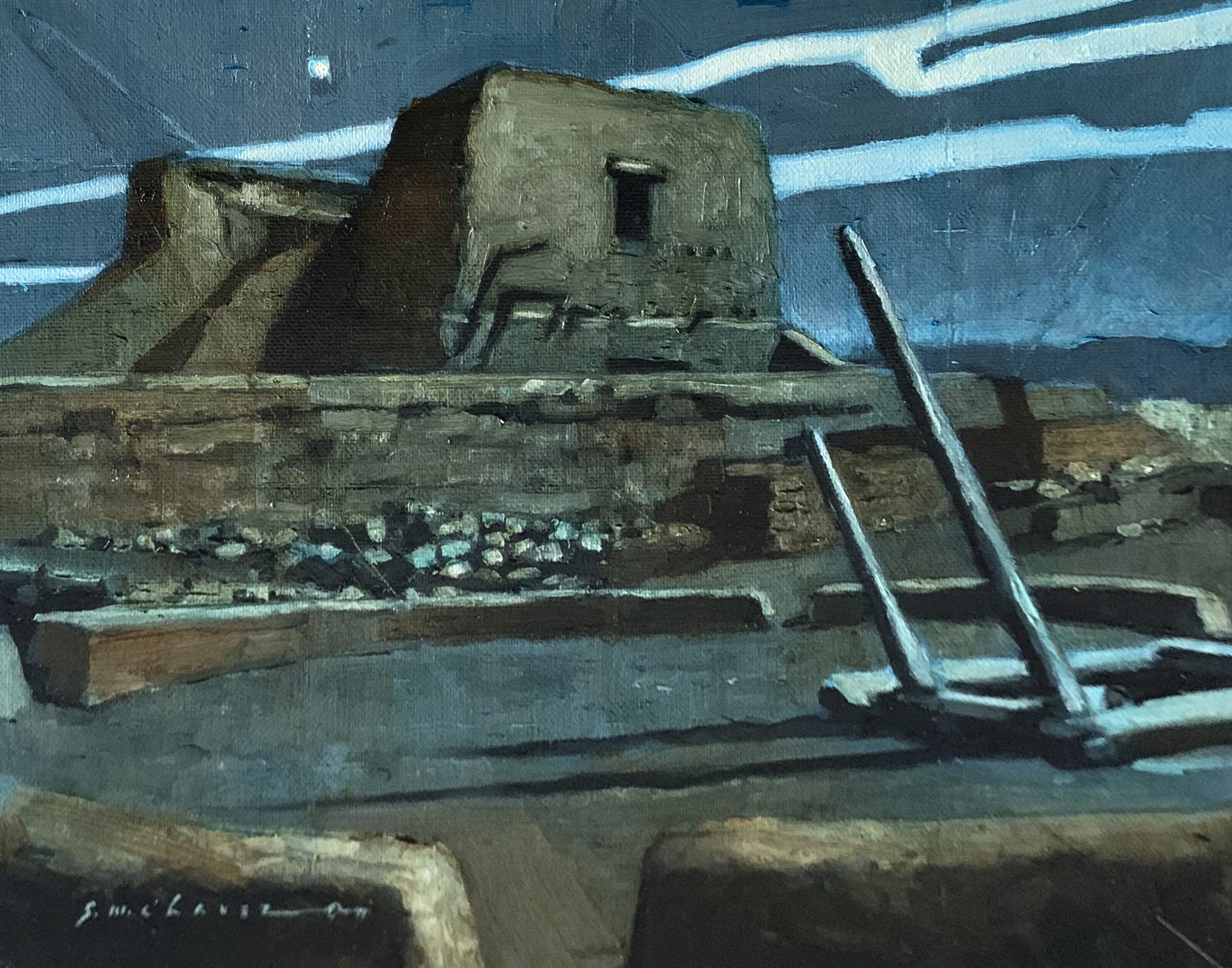 Oil painting of Pecos Spanish Mission at night