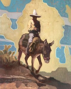 painting of man on burro