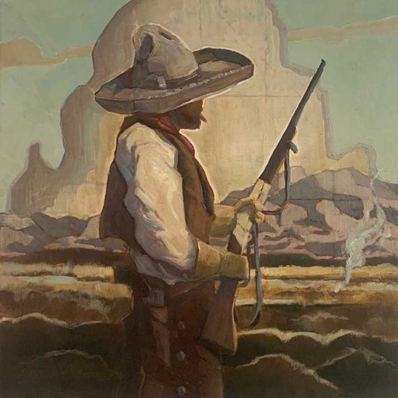 Painting of a vaquero with a long gun looking into the landscape