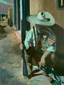 Painting of an old vaquero waiting outside a bar at night