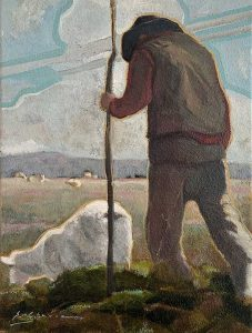 Painting of an indigenous person herding sheep