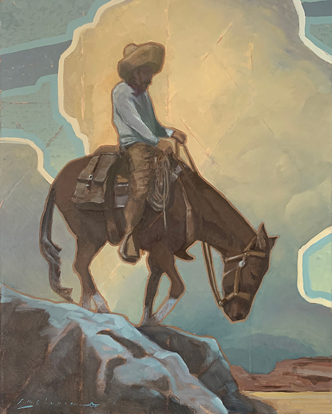 Painting of Vaquero going down rocky hill on mule