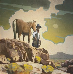 lost cowboy with his horse painting