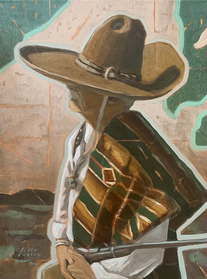 Painting of a western vaquero holding a long gun
