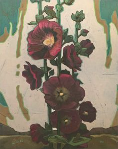 Painting of Hollyhocks